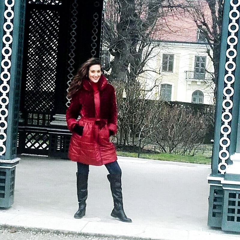 long dark red velvet winter coat jacket