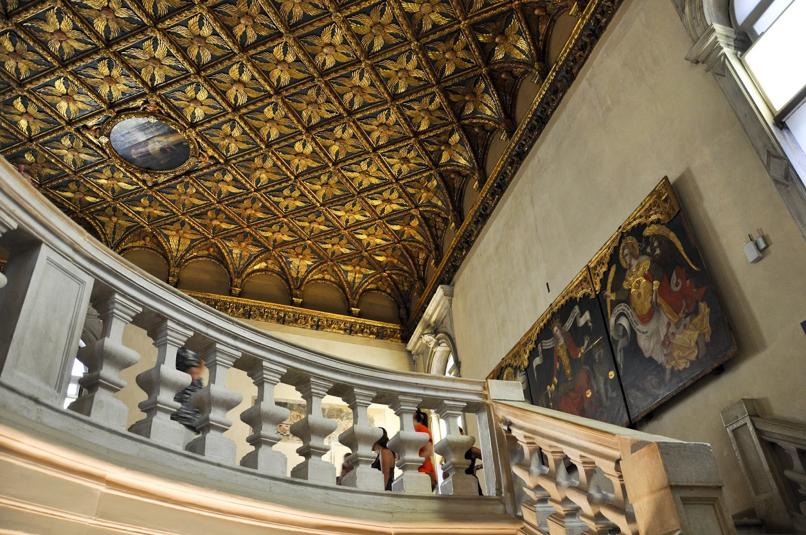 Going up the steps in Gallerie dell'Accademia in Venice