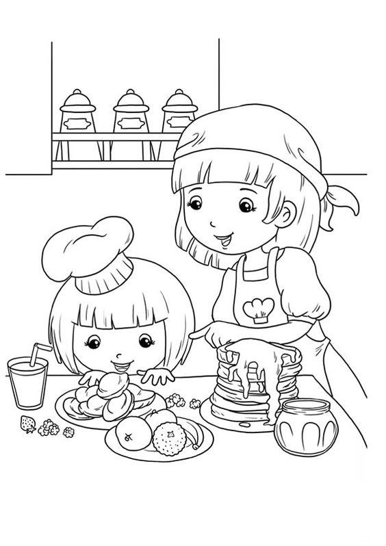 Tranh tô màu mẹ nấu ăn cùng bé