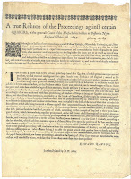 Broadside detailing the arrest and execution of Quakers in the Massachusetts Bay Colony in 1660.