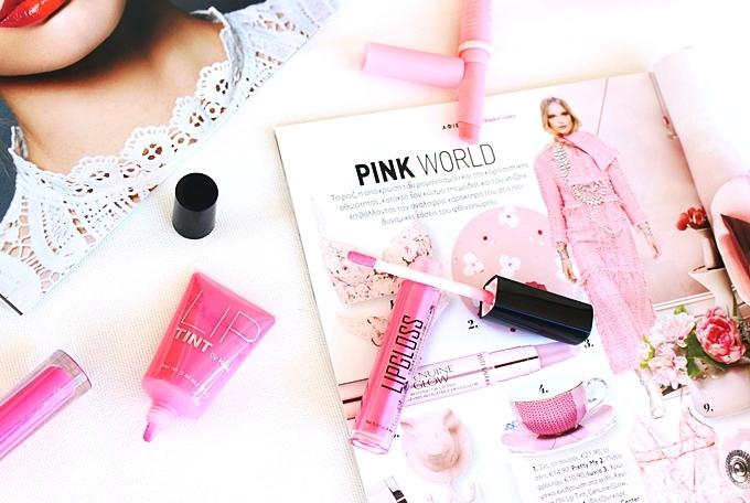 H&M lip tint in Hot pink.H&M Lipgloss in Bubblegum.