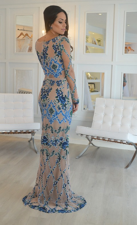 vestido de festa bordado azul