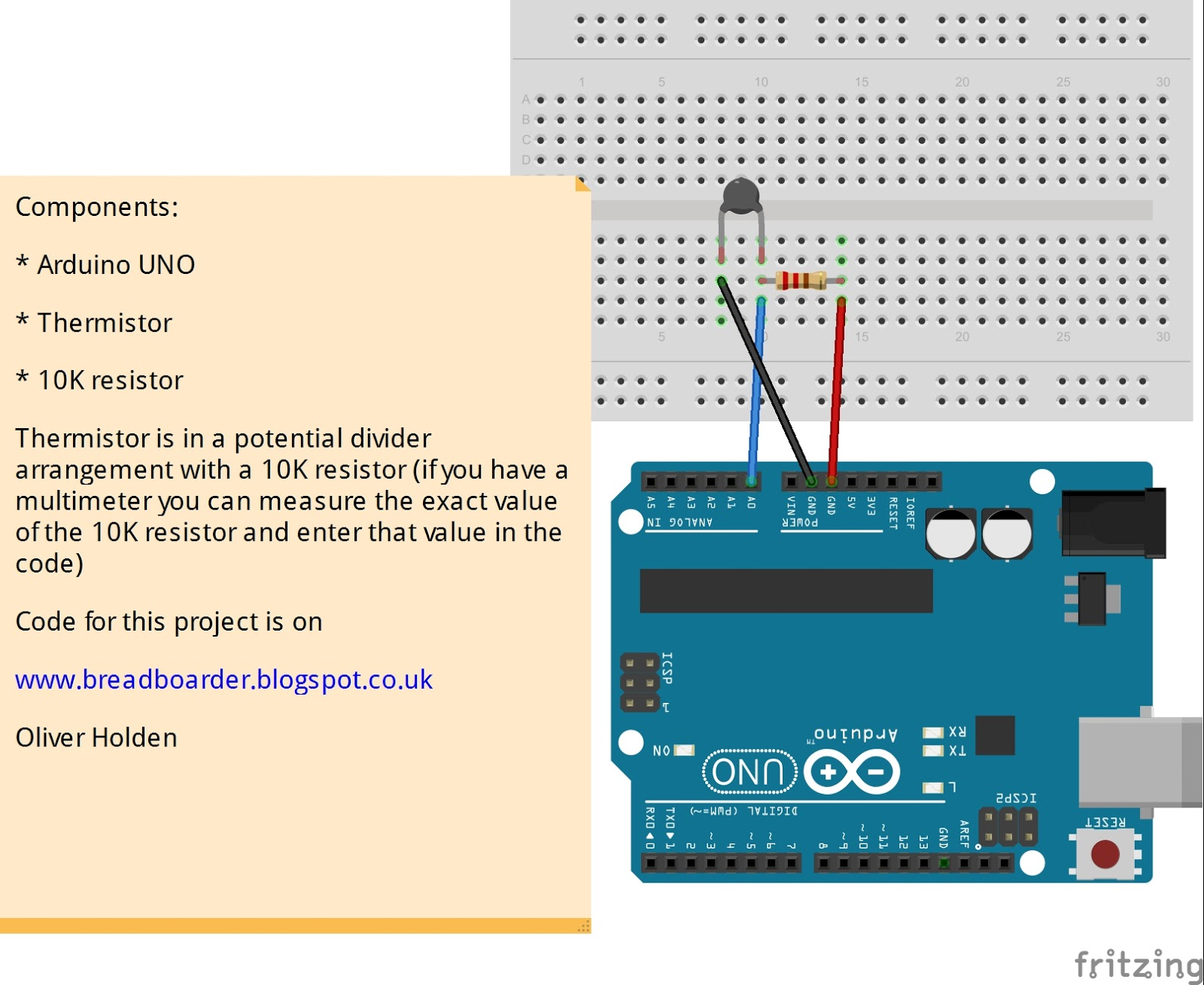 Breadboarders Arduino With A Thermistor To Get Temperature Plx Circuit For Measuring Using And Daq Excel Spreadsheet