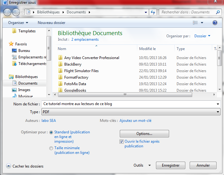 enregistrer un document au format pdf sous microsoft office