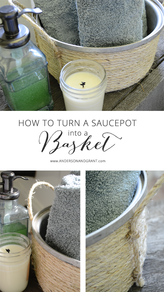 An old saucepot has been turned into a decorative storage basket....fast and easy DIY!  | www.andersonandgrant.com