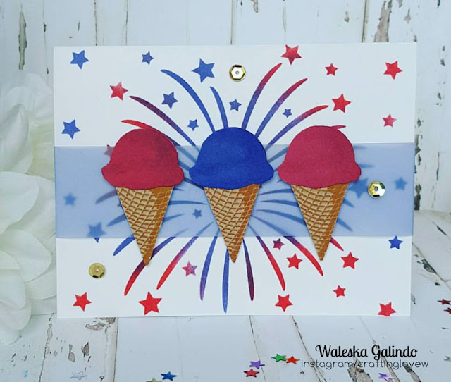 Sunny Studio Stamps: Two Scoops Ice Cream Red, White & Blue Card by Waleska