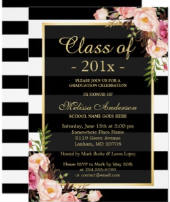 Class of 2018 Graduation Classy Floral Stripes