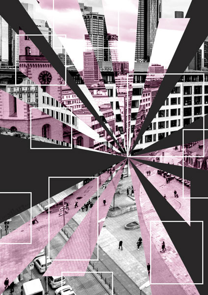 City Life, composing, collage, digitl art