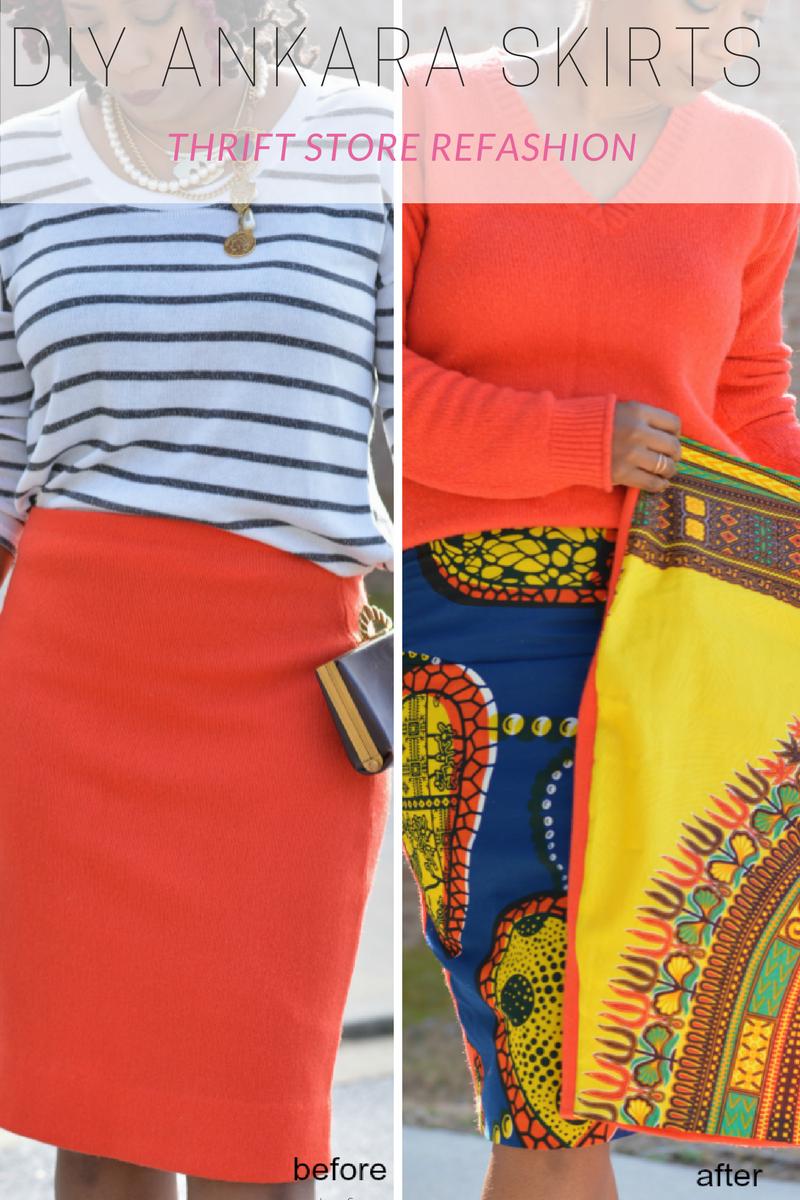 thrift store refashion skirt