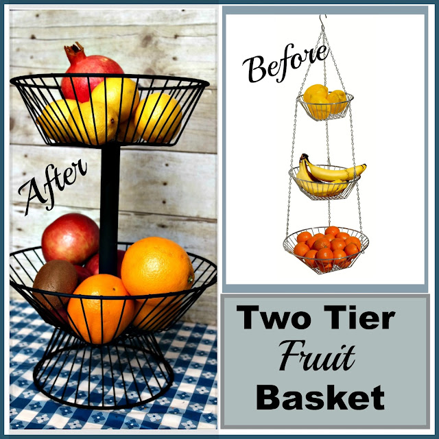 Before collage of diy two tier wire basket