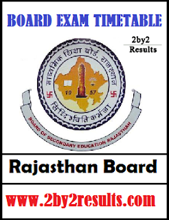 Rajasthan 10th Time Table 2018 - RBSE 10th Routine 2018
