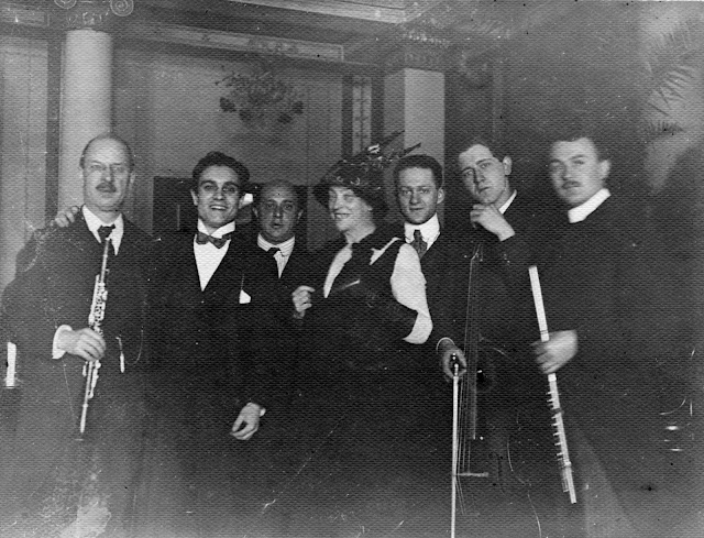 Schoenberg and the performers after the first night of Pierrot Lunaire in Berlin in 1912.