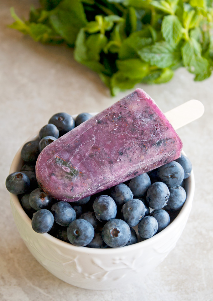 Blueberry Mint Coconut Water Paleo Popsicles
