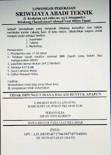 Bursa Lowongan Kerja Sriwijaya Abadi Teknik