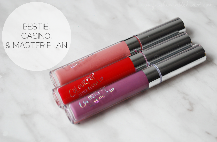 bbloggers, bbloggersca, canadian beauty bloggers, colourpop, colourpop cosmetics, ultra glossy lip, casino, bestie, master plan, pink, red, purple, lip swatch, hand swatch, product review, swatches