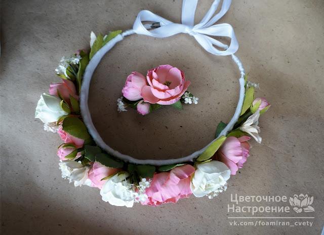 комплект мама-дочка с цветами из фоамирана