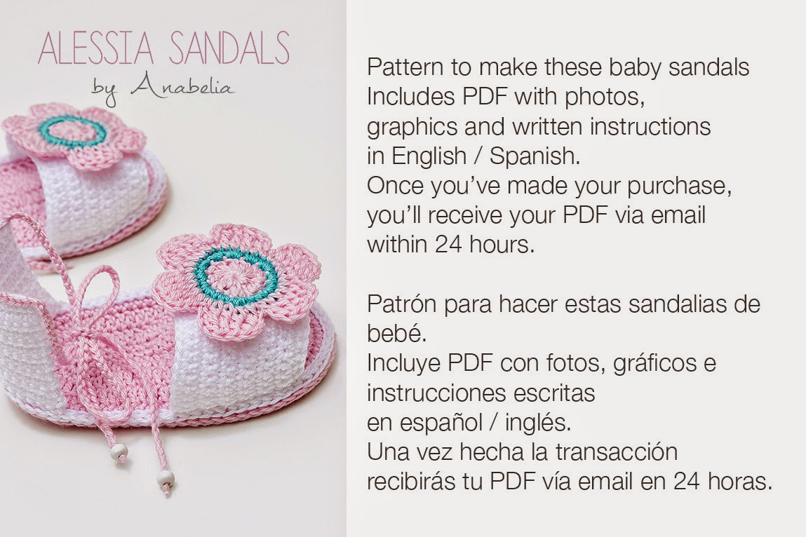 Alessia crochet baby sandals pattern by Anabelia