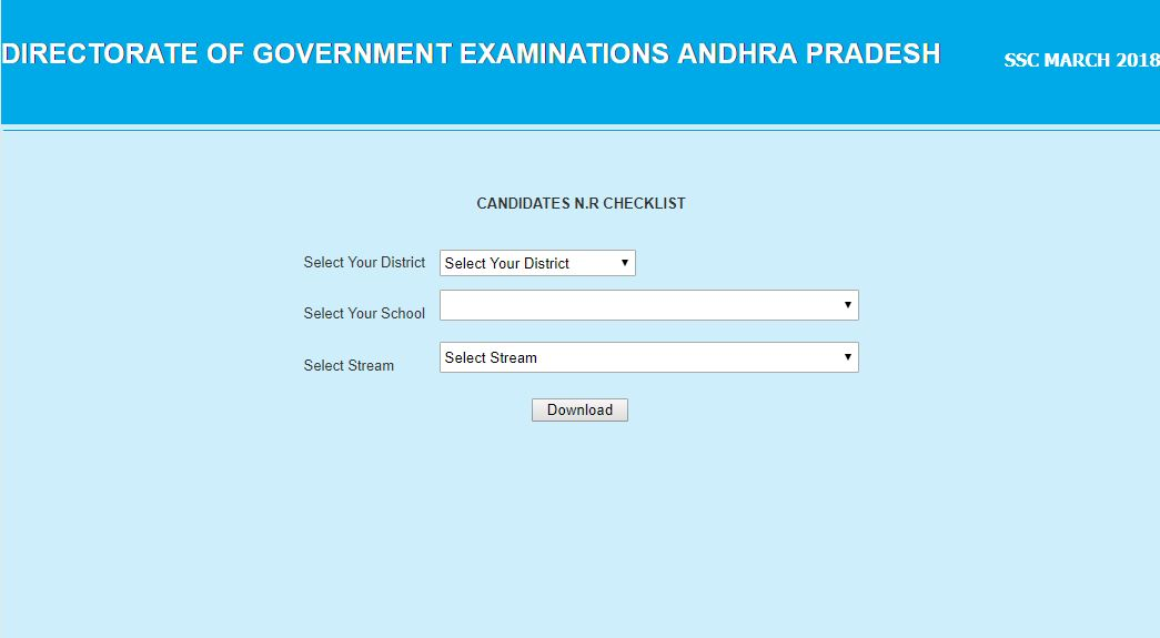 AP SSC(10th Class) MARCH - 2018 NR (Nominal Rolls) Check Lists Download @bse.ap.gov.in