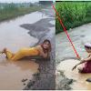 Heboh!! Beredar Foto Cewek Cantik Ini Mandi Air Keruh Yang Ada Di Jalan, Ternyata Alasannya Buat Kita Melongok...