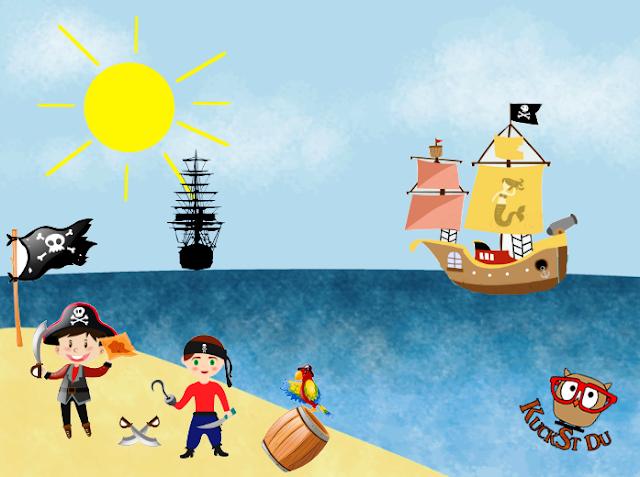 Strandszene gezeichnet mit Piraten-Cliparts