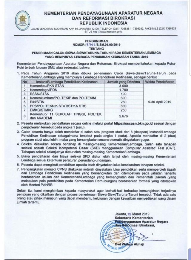 Jadwal Pendaftaran Cpns Melalui Jalur Pendidikan Kedinasan Tahun