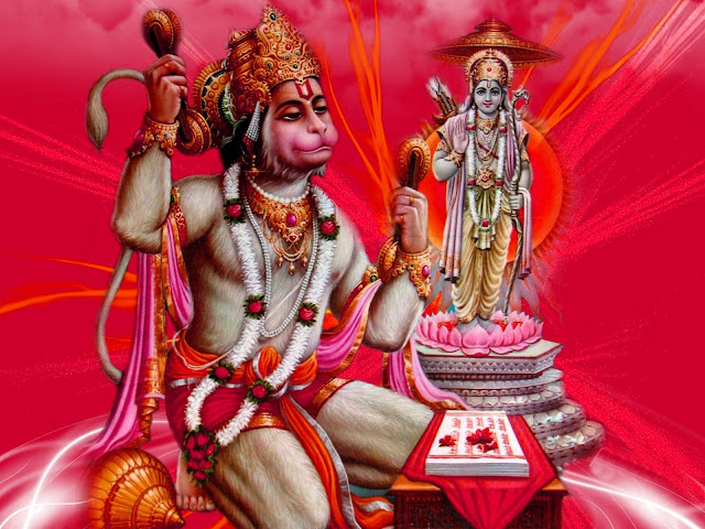 Best Lord Ram & Hanuman HD Wallpaper In Red Background