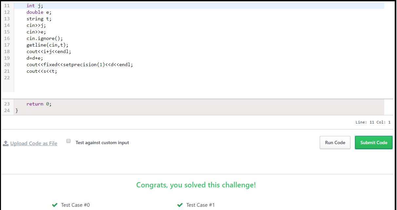 "Hacker Rank Solution Program In C++ For "" Day 1: Data Types """