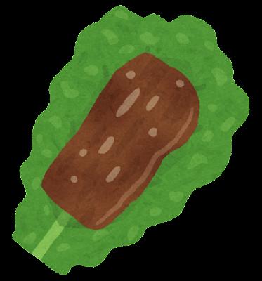 焼肉の置かれたサンチュのイラスト