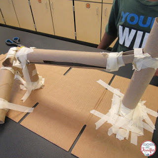 STEM materials are easy to gather, but you really do have to work on managing their use. Obviously, this team used a little bit more tape than seems necessary. Check this blog post for more about the must-have STEM materials!
