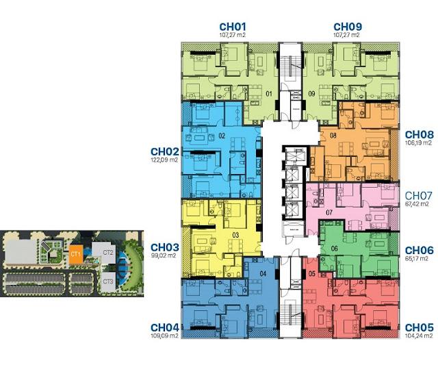 Mặt bằng thiết kế tầng căn hộ điển hình tòa CT1 Sunshine Riverside