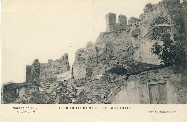 Bitola in ruins in 1917 on a postcard issued by Cliche J.M France.