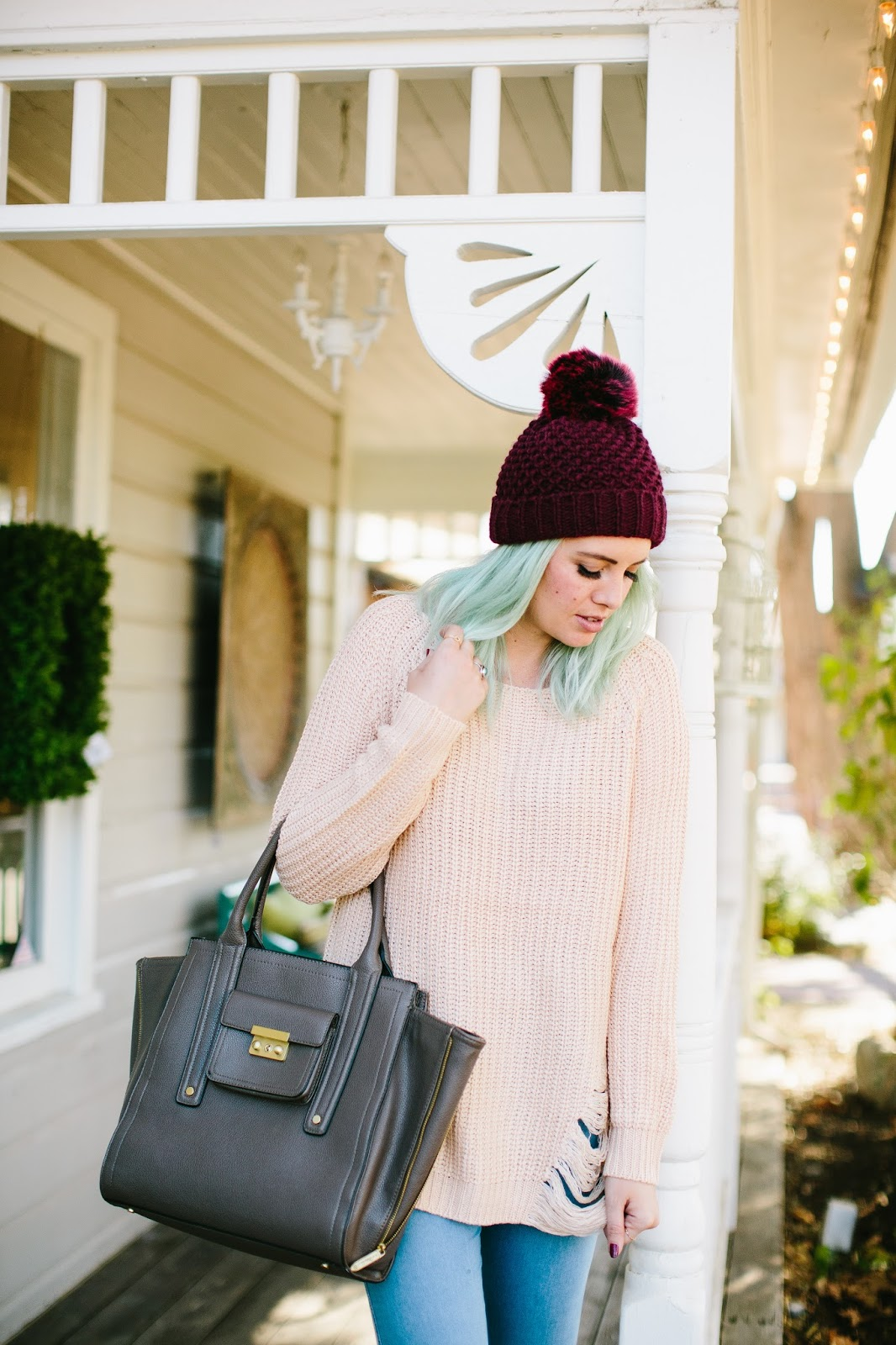 Fall Sweater, Pom Pom Beanie, Blue Hair