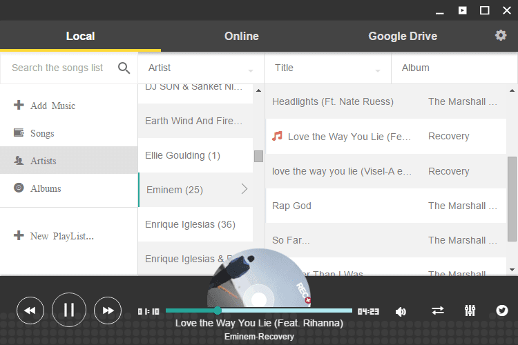 Enjoy Music Player Plays Local Music in Chrome