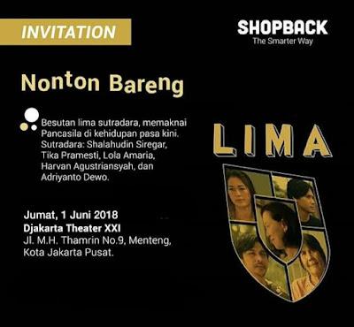 Undangan Nonton Bareng Film Lima Bersama ShopBack