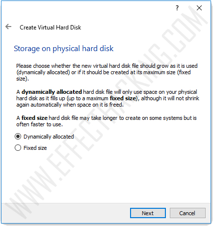 Storage on physical hard disk snapshot