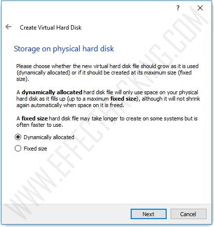 Storage on physical hard disk snapshot