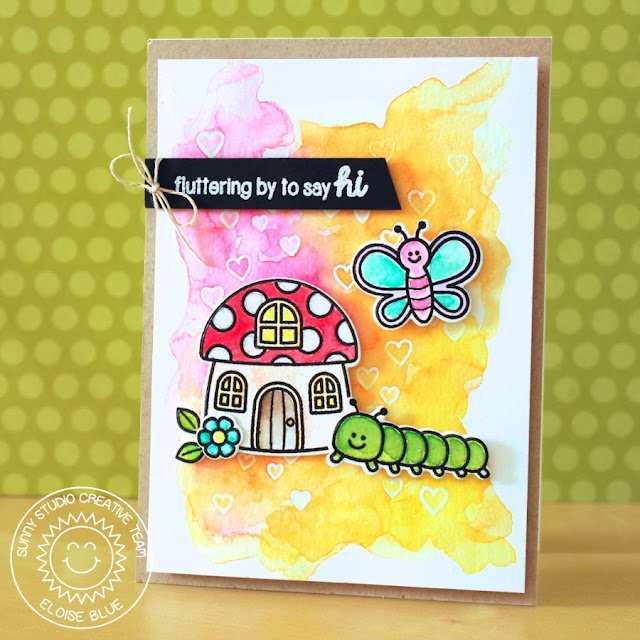 Sunny Studio Stamps: Backyard Bugs Watercolor Card by Eloise Blue