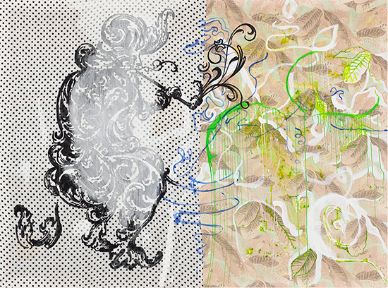 Sigmar Polke at gallery David Zwirner, Eine Winterreisse, drawing, painting
