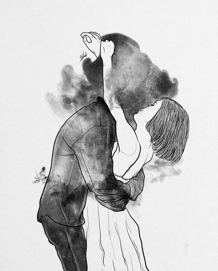 03-Loving-someone-Muhammed-Salah-Smoky-Surreal-Ghost-Drawings-www-designstack-co