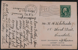 A postcard filled with handwriting.