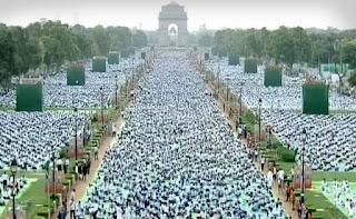 Rajpath turned Yogpath on International day of Yoga