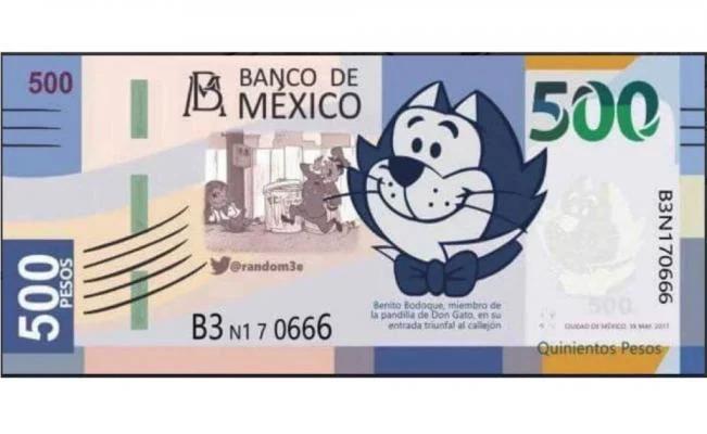 Billete de 'Benito' de 500 pesos