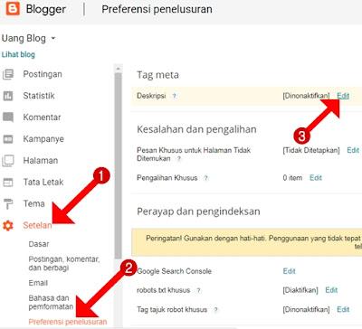 Cara Mengaktifkan Setelan Preferensi Penelusuran Tag Meta Deskripsi Blog di Blogger