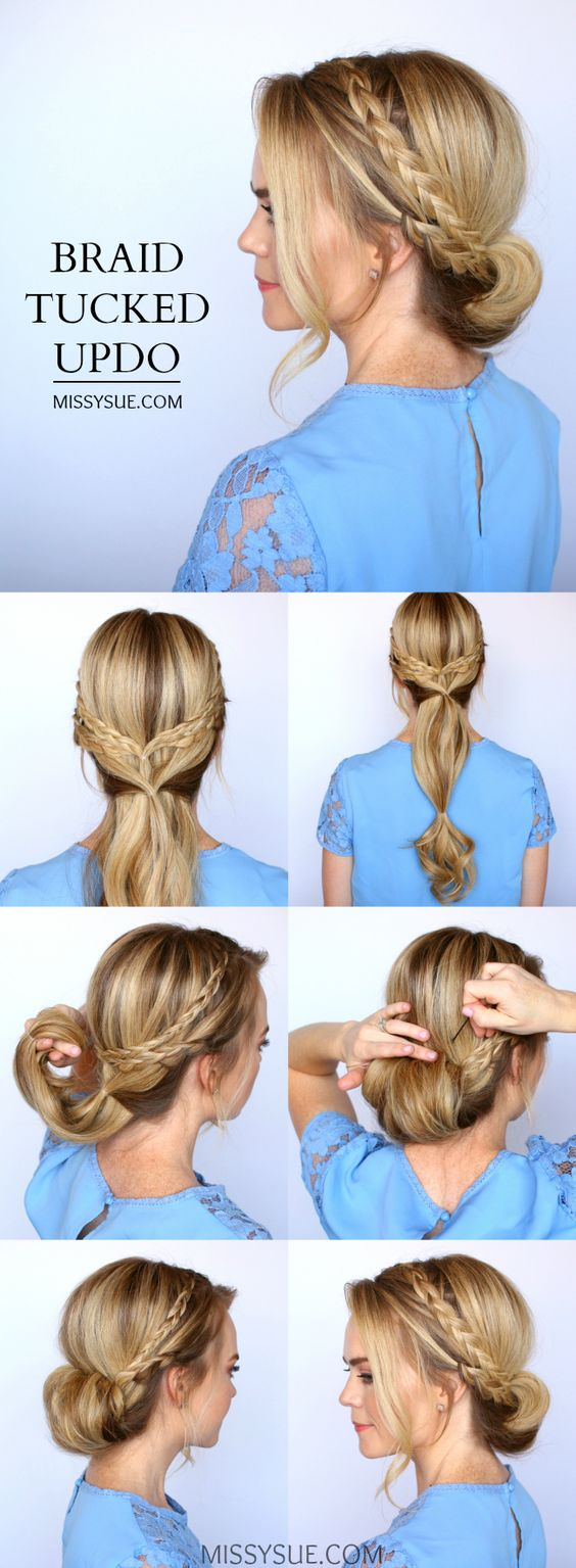 Easy Women's Hairstyles Braid Tucked Updo