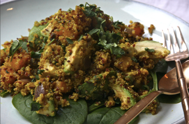 Curried Quinoa with Avocado & Sweet Potato, recipe, vegan curry,