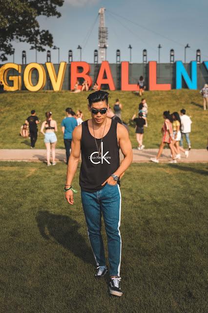 Leo Chan wearing Calvin Klein Tank Top, Vans Sneakers