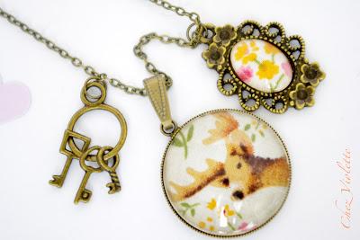 Collier pendentif rétro cerf - Stag retro necklace - Chez Violette