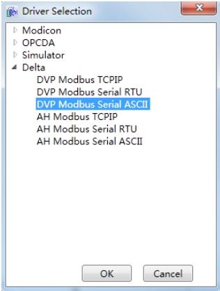 Communication between DIAView SCADA and Delta PLC—DVP 12SE through