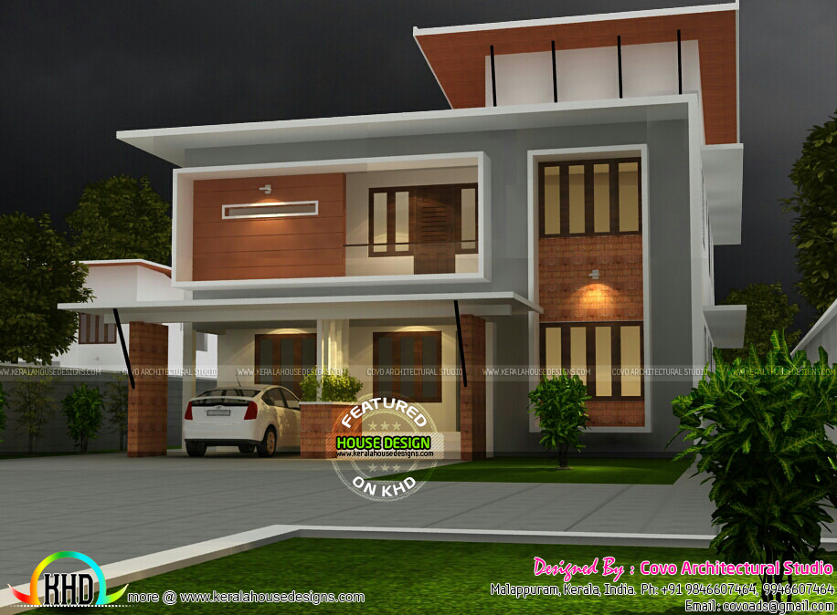 2200 Sq Ft Fusion Flat Roof House Plan Kerala Home