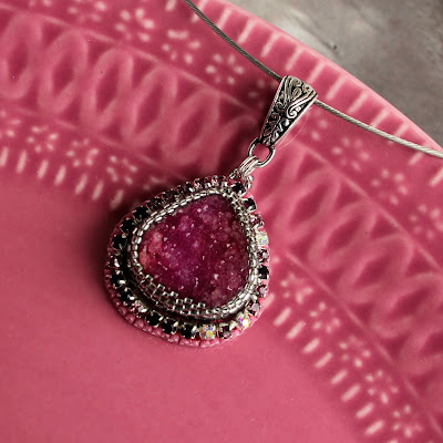 agate druzy pendant, agat, druza